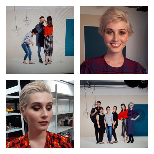Backstage eines Hair & Make-up Artist für Katalogshooting. Rechts oben: Kurzhaar-Model mit Make-Up, rechts unten: Team am Set, links unten: Kurzhaar-Model mit Make-Up & Haistyling, links oben: Stylistin bei der Arbeit am Model auf Set