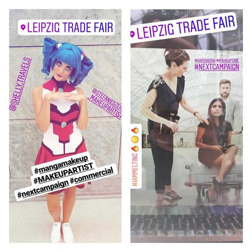 Zwei Fotos von Make-up & Hairstyling Models: links ein Model im Manga-Style, rechts drei Personen im Business-Style am Flughafen