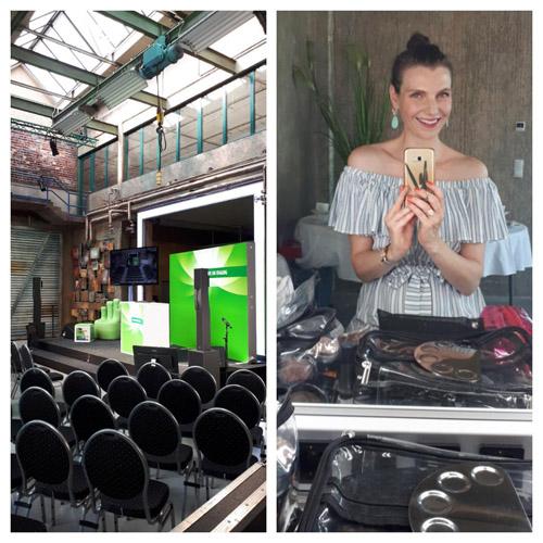 Links: Veranstaltungssaal mit leeren Stuhlreihen und Bühne in Industriebau. Rechts: Selfie im Spiegel von Visagistin in Chemnitz