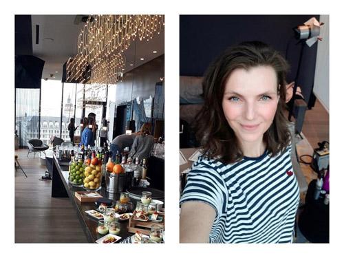 Links: Buffet-Tisch üppig gefüllt in modernem Raum & auffälliger Lampe, rechts: Selfie einer Visagistin für Business-Shooting in gestreiftem T-Shirt