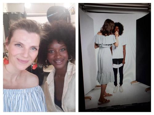 Links: Selfie einer hellhäutigen Visagistin & dunkelhäutigem Model, Rechts: Visagistin schminkt Model mit Makeup for Photoshoot