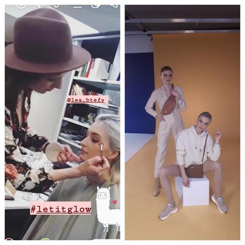 Links: Hair and Make-up Artist mit Hut schminkt Model. Rechts: Zwei Models posieren vor gelber Wand für Shootingtist