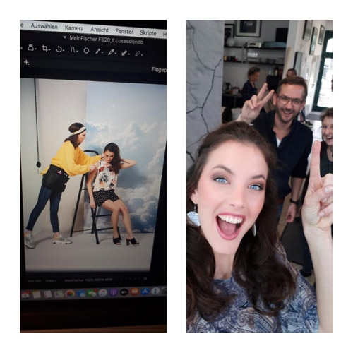 Links: Hair & Make-up Artist für Werbung stylt Model bei Shooting. Rechts: Selfie mit Shooting-Team