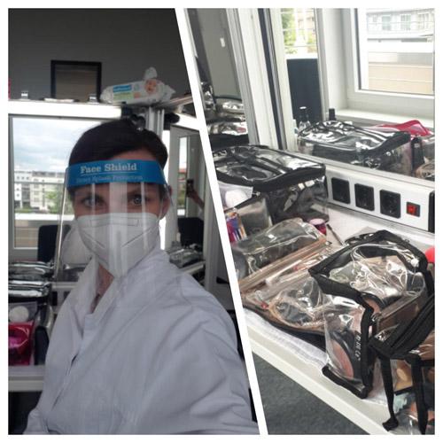 Collage: links: Frau (Visagist Hair & Make-up) in Corona Schutzkleidung: Gesichtsschild, Mundnasenschutz und weißem Einmalkittel vor einem beleuchteten Kosmetikspiegel. Rechts: professionelles Kosmetikequipment
